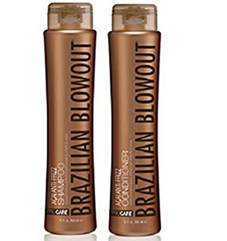 2. Brazilian blowout Acal anti-frizz shampoo and conditioner.