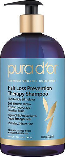 2.PURA D'OR Hair Loss Prevention Therapy Premium Organic Argan Oil Shampoo