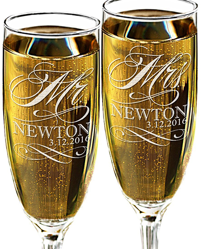 9. Mr and Mrs Champagne Wedding Glasses