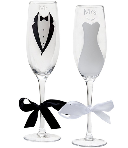 7. Mr. and Mrs.Glass Wedding Champagne Toasting Flutes