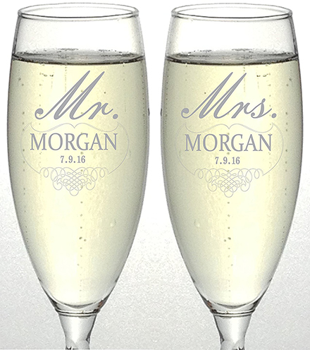 5. Set of 2 Personalized Wedding Champagne Flutes