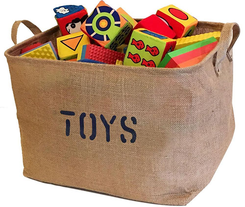 4. Large Jute Storage Bin perfect for Toy Storage