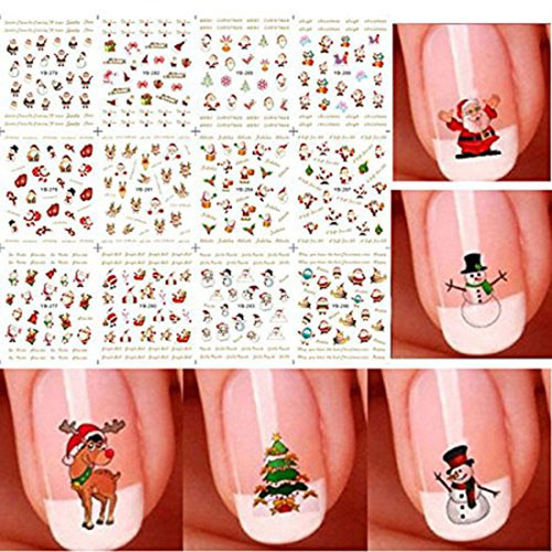 2. Bhbuy Christmas 3D Nail Art Stickers Snowflakes
