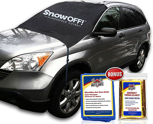 2. SnowOFF Car Windshield Snow Cover & Sun Shade Protector