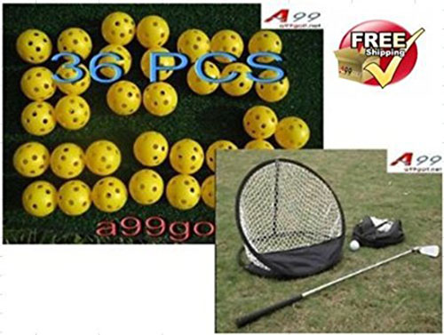 2. A99 Golf Pop-up Style Chipping Net + 36pcs Air Flow Balls Yellow
