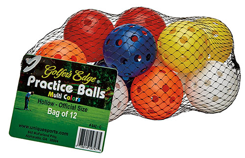 7. Unique practice golf balls (12 pack)