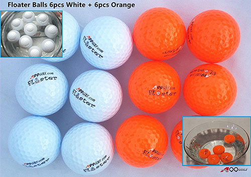 10. A99 golf 6 pcs floater balls + 6 pcs orange floater balls