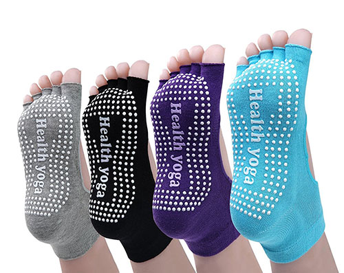 1. Cosfash Yoga Socks Non Slip Skid Toe Grips
