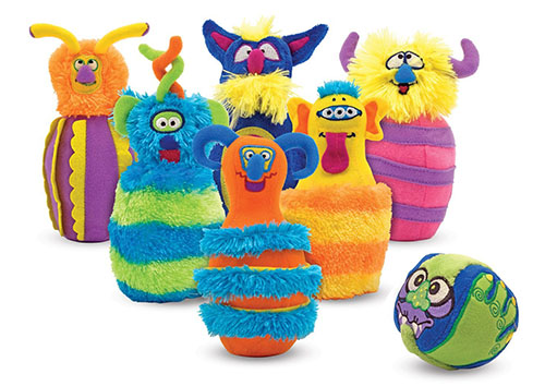 6. Melissa and Doug Monster Plush 6- pin bowling game with carrying case