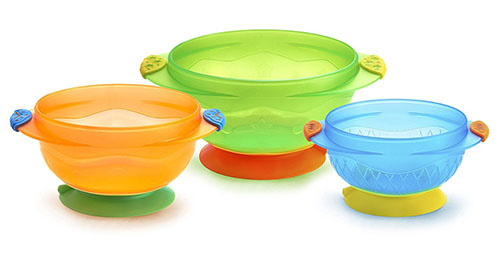 3. Munchkin stay put suction bowl, three counts