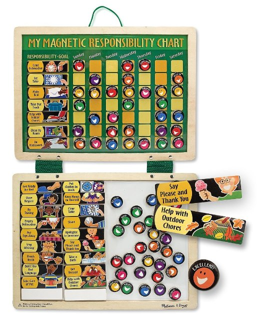 7. Melissa & Doug Deluxe Wooden Magnetic Responsibility Chart