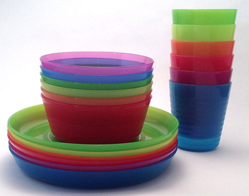 10. IKEA- KALAS children color bowl, tumbler plate sets x6 each (set of 18)