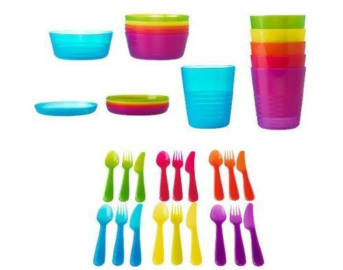 7. Ikea 36-piece dinnerware set, assorted colors