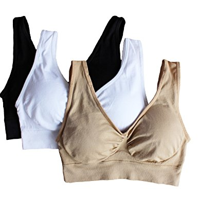 1. Cabales Women's 3-Pack Seamless Wireless Sports Bra