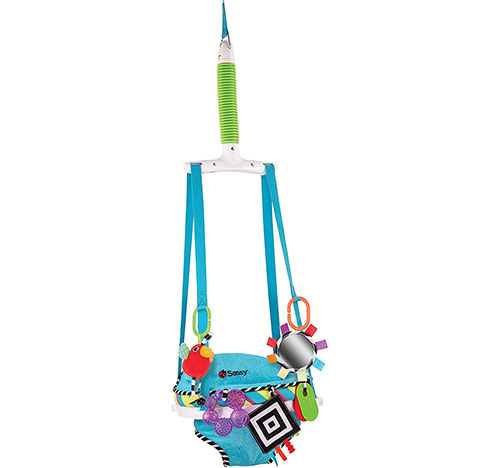 8. Sassy inspire the sense doorway jumper with removable toys