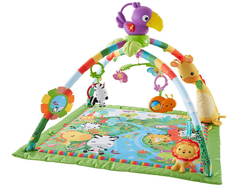 3. fisher- price musical and lights deluxe gym, rainforest