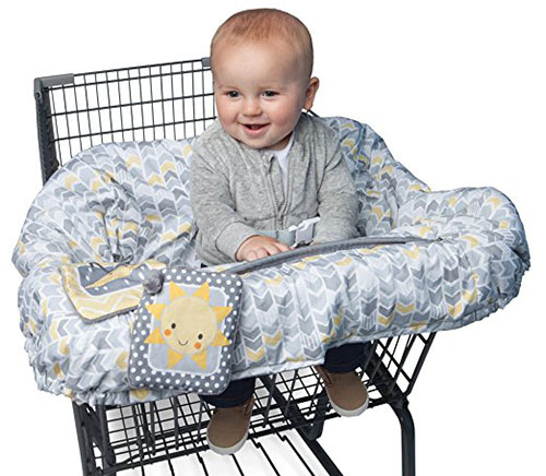8. Boppy shopping cart cover, sunshine/ gray
