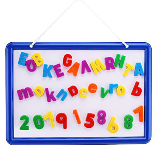 7. Magnetic Whiteboard with 109 Alphabet Letters & Numbers