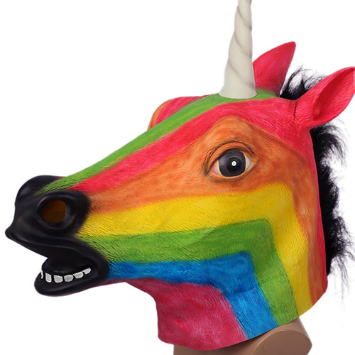 8. Animal Masks for Halloween Rainbow Unicorn Mask Head