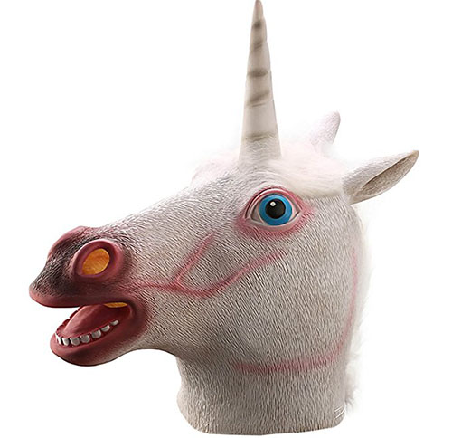 6. Ylovetoys Unicorn Head Mask Halloween Costume Party Novelty Latex Animal Mask