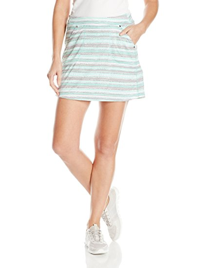 6. PGA TOUR Women's Sunflux Up 50 Golf Performance Dot Stripe Print Skort