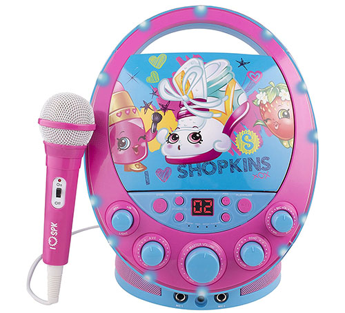 4. Shopkins flashing light, portable kid's music karaoke machine
