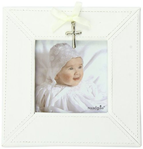 7. Mud Pie Baby Classic Keepsakes Cross Charm Photo Frame, White