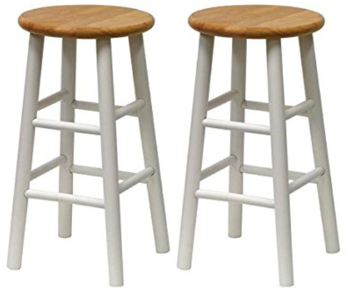 8. Winsome Wood S/2 Beveled Seat 24-Inch Counter Stools