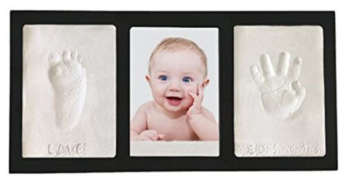 3. Clay Handprint & Footprint Keepsake Photo Wall Mount Frame - Black