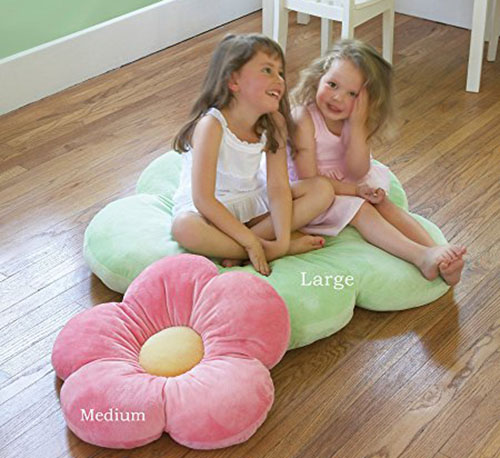 6. Heart to heart girl's floor pillow, pink, large