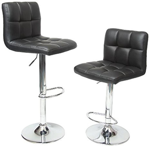 4. Roundhill Furniture Swivel Black Bonded Leather Adjustable Hydraulic Bar Stool