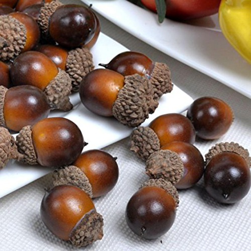 1. Gresorth 50pcs Artificial Lifelike Simulation Small Acorn Set Decoration Fake Fruit