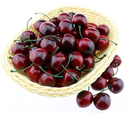 2. Gresorth 50pcs Artificial Lifelike small Red Black Cherries