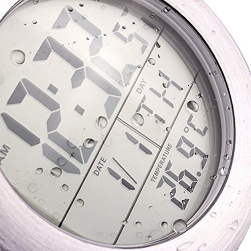 9. Emate Water Resistant LCD Bathroom Shower Clock, aluminum finish