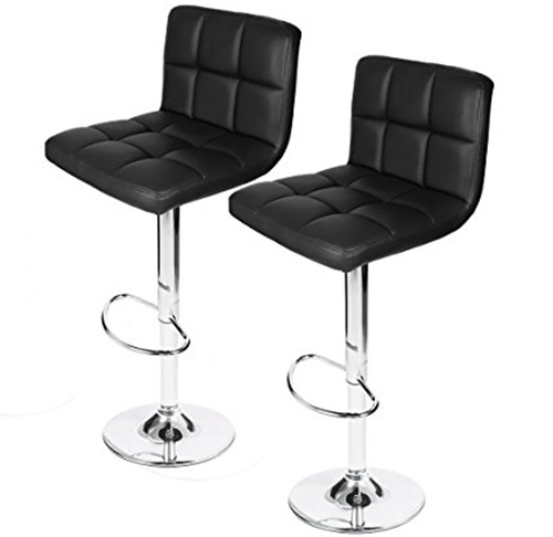 7. Homall Swivel Black Bonded Leather Barstool Adjustable Hydraulic Bar Stool