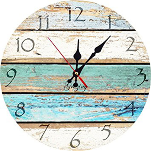 4. Weathered Beachy Boards Design clock