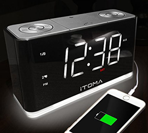 3. iTOMA Alarm Clock with FM Radio