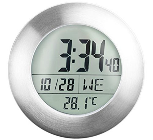 8. Emate Water Resistant LCD Bathroom Shower Clock