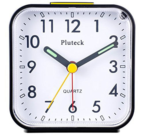 1. Pluck NonTicking Analog Alarm Clock