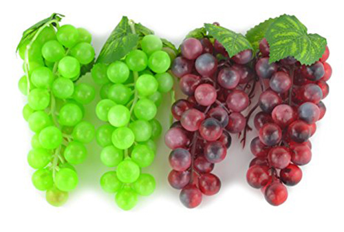6. SAMYO 4 Bunches of Artificial Green & Purple Grape Cluster Simulation Fake Fruit