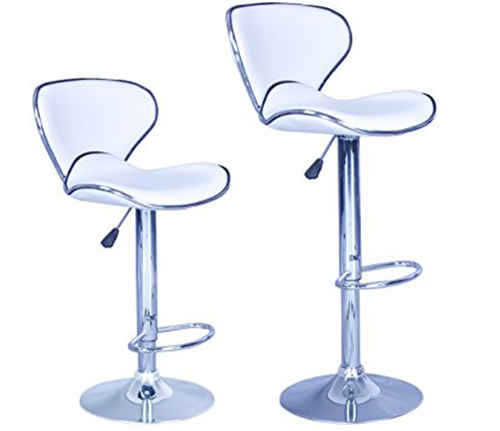 9. New Modern Adjustable Synthetic Leather Swivel Bar Stools Chairs-Sets of 2