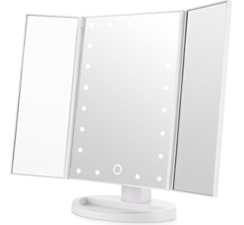8. Easehold Tri-Fold Lighted Vanity Mirror, White