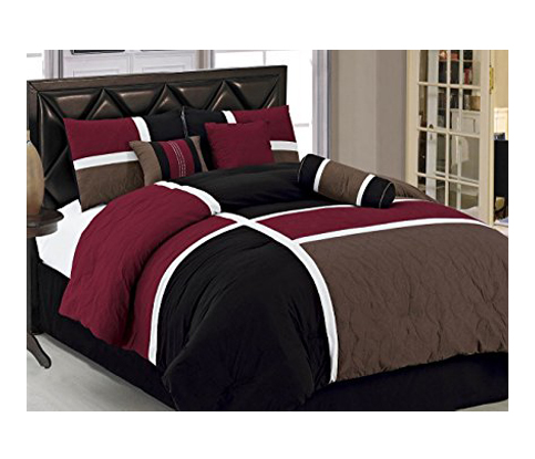 8. Chezmoi Collection Quilted Patchwork Comforter Set (7-Piece)