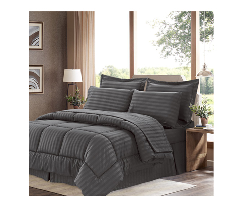 7. Sweet Home Collection Gray 8 Piece Comforter Set (Gray)