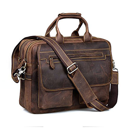 "9. Kattee Crazy-Horse 16"" Laptop Leather Briefcase"