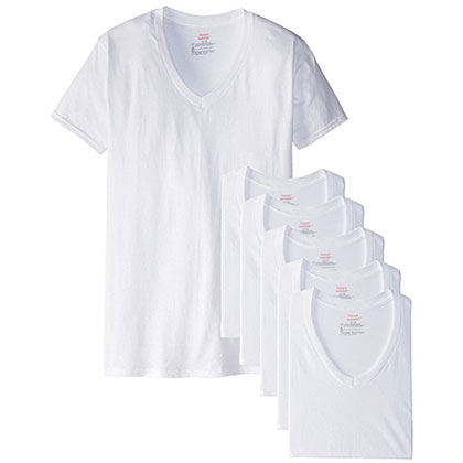 7. Hanes Men's White 6-Pack V-Neck T-Shirts