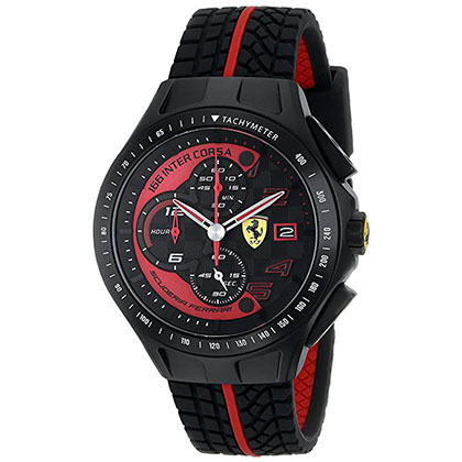 9. Ferrari Men's Black Rubber Strap Watch (0830077)