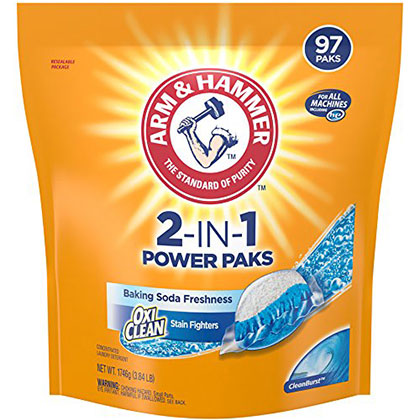 5. Arm & Hammer 2-IN-1 Laundry Detergent Paks (97 Count)