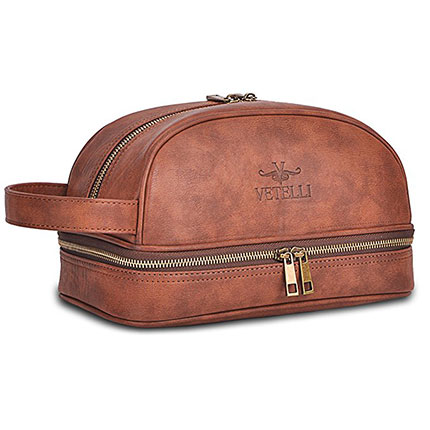 9. Vetelli Leather Toiletry Bag for Men