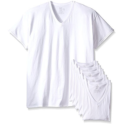 1. Fruit of the Loom 6 Pack Men's V-Neck T-Shirt